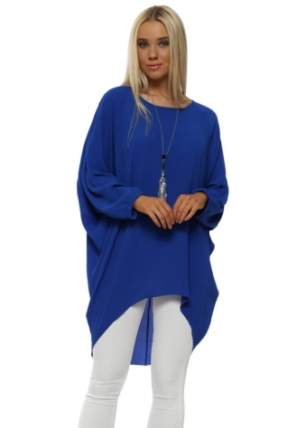 Cobalt Blue Crepe Tunic Top With Necklace