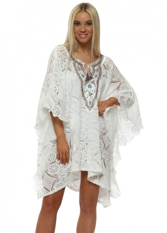 White Lace Floral Beaded Kaftan