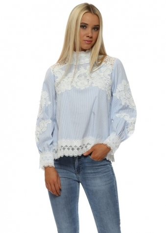 Blue & White Striped Lace Blouse