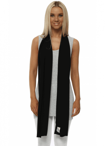 Plain Black Jersey Scarf