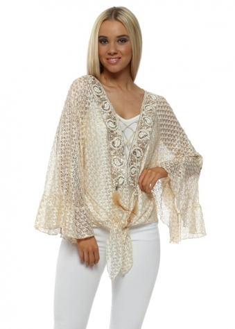 Cream Sparkle Lace Embellished Tie Front Top