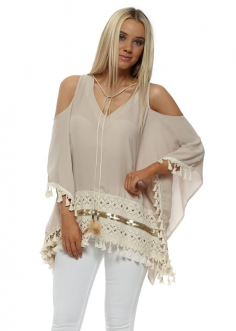 Beige Cold Shoulder Sequin Trim Lace Panel Top