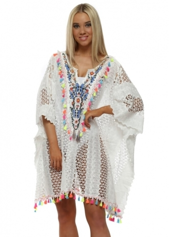 White Lace Neon Tassel Embroidered Kaftan