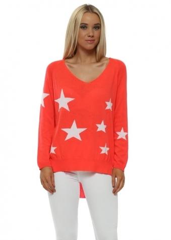 Neon Coral White Stars Fine Slub Knit Jumper