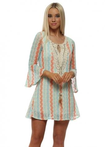 Wave Knit Crystal & Pearl Mini Dress