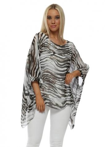 Grey Zebra Print Silk Kaftan Top
