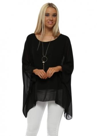Black Chiffon Batwing Necklace Top