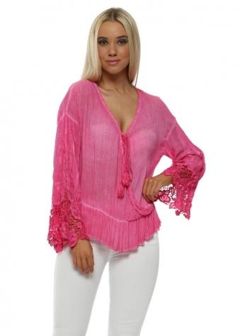 Pink Wrap Front Tassel Tie Top