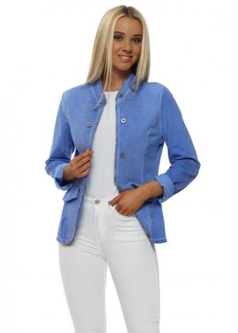 Blue Ribbed Casual Jacket