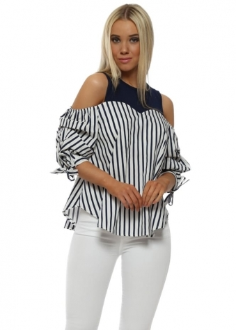Navy & White Striped Cold Shoulder Top