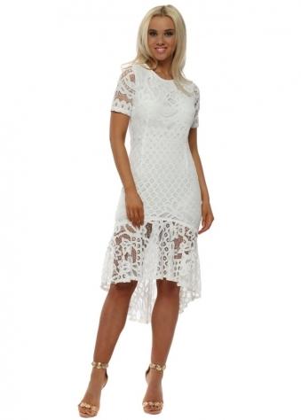 White Lace Mermaid Hem Midi Dress