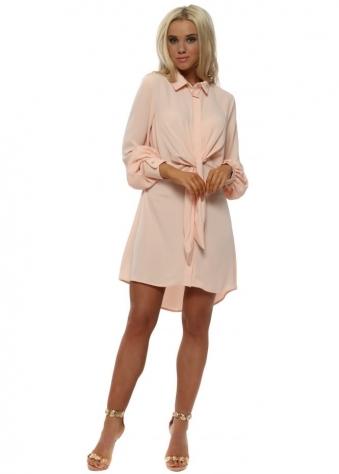 Peach Tie Front Shirt Dress