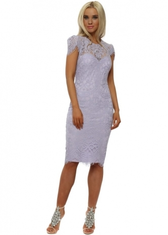 Lavender Cap Sleeve Lace Midi Dress