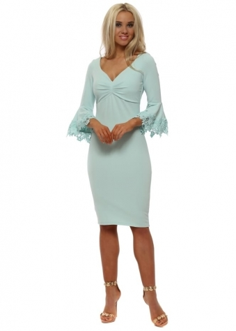 Mint Midi Dress With Lace Bell Sleeves