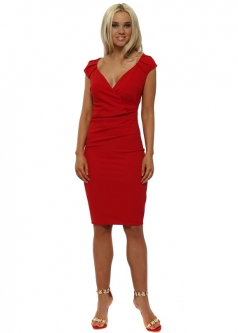 Red V-Neck Pleated Midi Dress