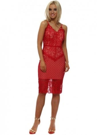 Red Lace Cami Pencil Dress