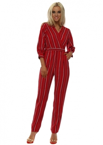 Red Pinstripe Wrap Front Jumpsuit