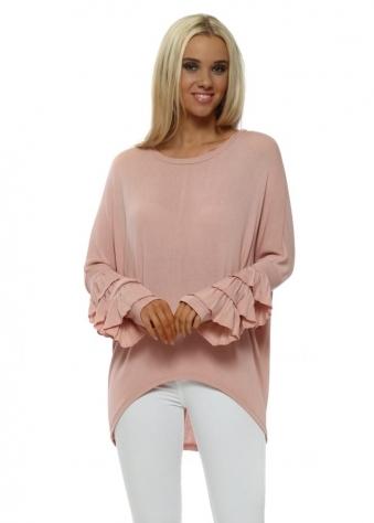 Dusky Pink Fine Knit Frill Cuff Jumper
