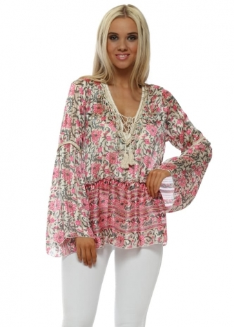 Pink Floral Print Bell Sleeve Shell Top