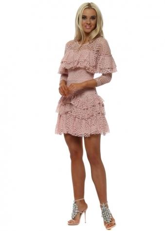 Blush Pink Lace Layered Mini Dress