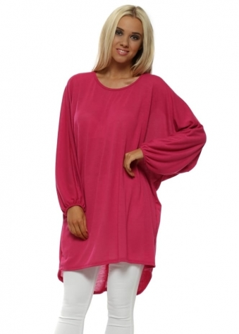 Bright Pink Bow Back Oversized Slouch Top