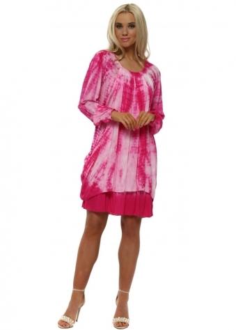 Hot Pink Tie Dye Draped Dress