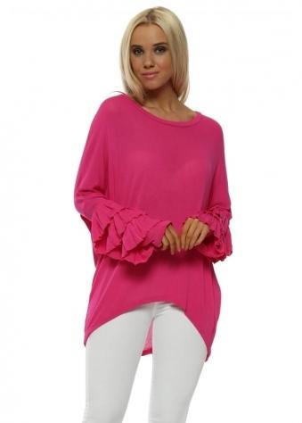 Bright Pink Fine Knit Frill Cuff Jumper