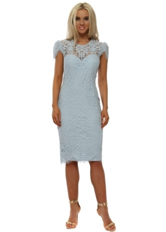 Powder Blue Lace Cap Sleeve Midi Dress