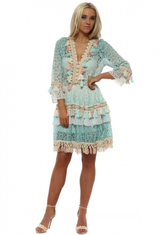Aqua Ombre Lace Tassels & Braid Dress