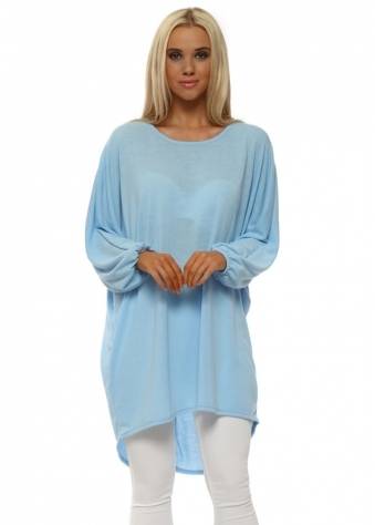 Light Blue Bow Back Oversized Slouch Top