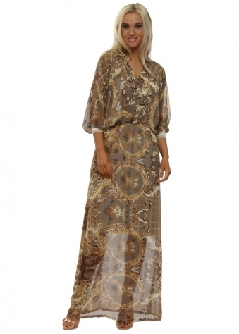Taupe & Gold Filigree Cross Over Maxi Dress