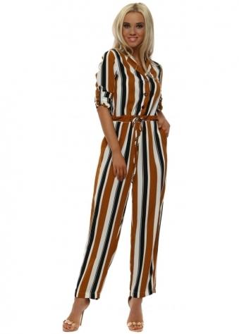Tan Bold Striped Jumpsuit