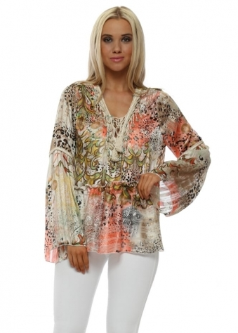 Coral Leopard Print Bell Sleeve Shell Top