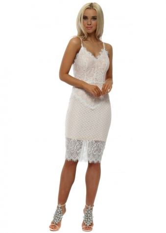 White Lace Cami Pencil Dress