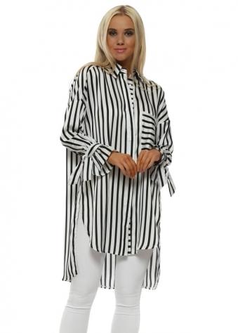 Black & White Striped Oversized Tunic Shirt
