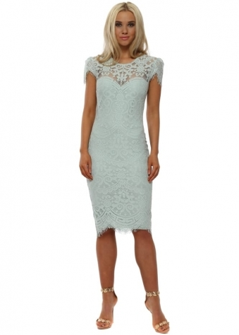Duck Egg Blue Cap Sleeve Lace Midi Dress