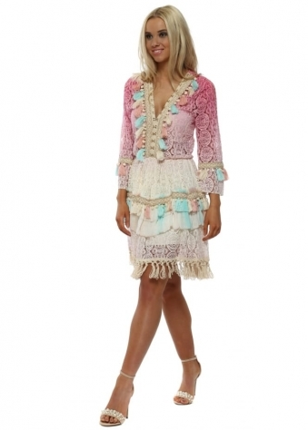 Pink Ombre Lace Tassels & Braid Dress