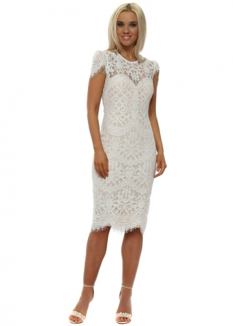 White Cap Sleeves Lace Midi Dress