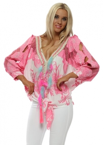 Pink Embroidered Feather Tassle Tie Top