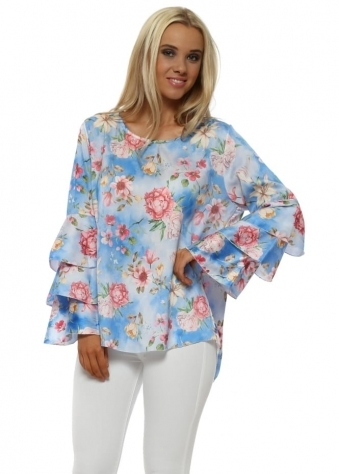 Blue Floral Frill Sleeve Top