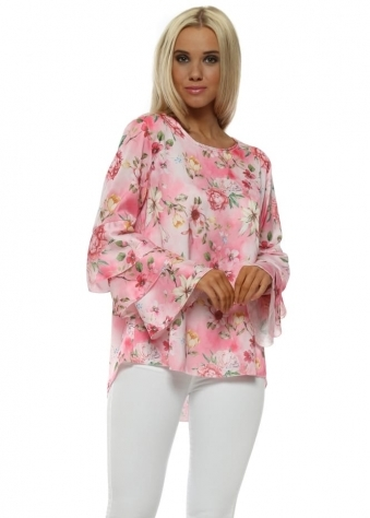 Pink Floral Frill Sleeve Top