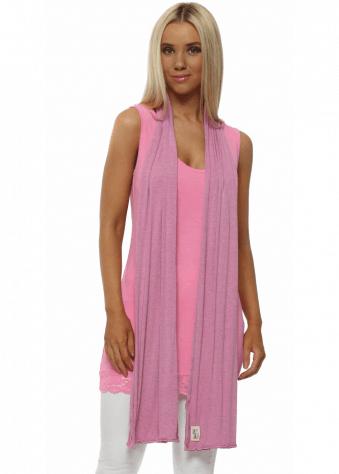 Plain Pinkest Melange Jersey Scarf