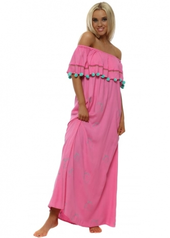 Pink Off The Shoulder Lemon Maxi Dress