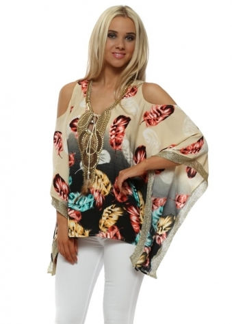 Feather Print Gold Beaded Kaftan Top