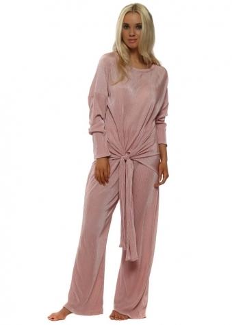 Dusky Pink Pleated Lounge Suit