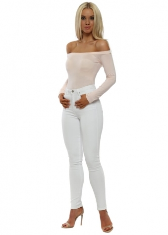 White Stretch Fit Skinny High Waisted Jeans