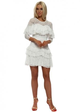 White Lace Layered Mini Dress