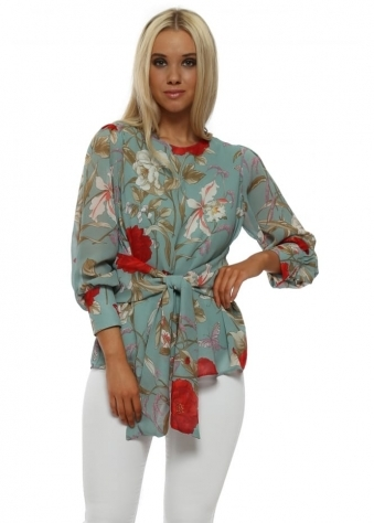 Green Floral Tie Front Blouse Top