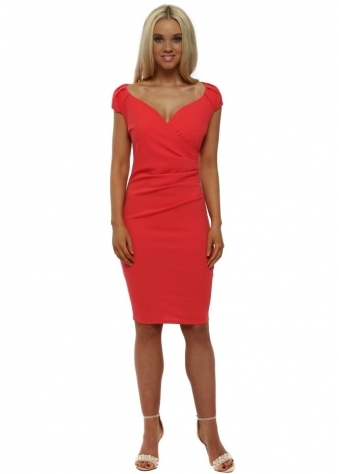 Coral V-Neck Pleated Midi Dress