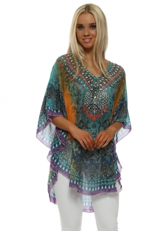 Blue Snakeskin Crystal Embellished Kaftan Top